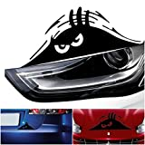 1 Pc Outstanding Popular Funny Peeking Monster Car Sticker Vinyl Emblem Walls Graphic Scary Eyes Color Black