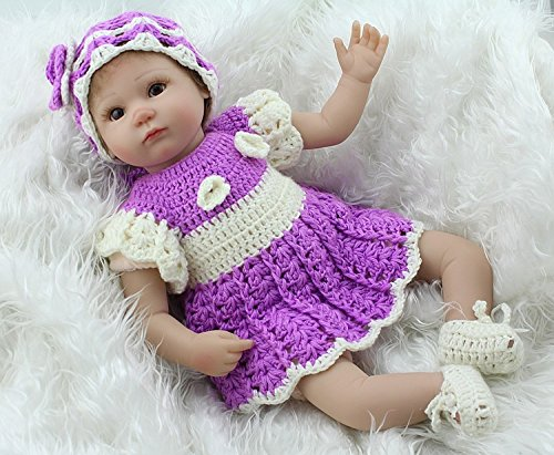(Npkdoll Reborn Baby Doll Soft Silicone 18inch 45cm Magnetic Lovely Lifelike Cute Boy Girl Toy Purple Dress)