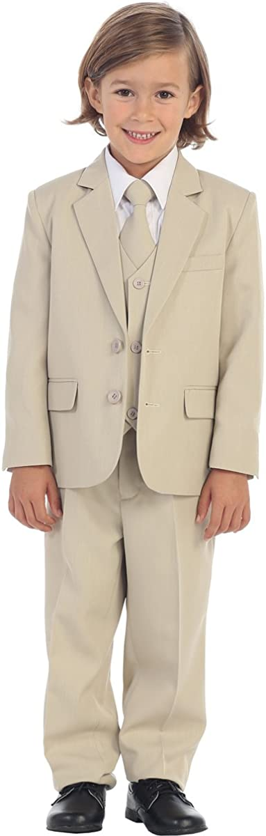 5-Piece Boy's 2-Button Suit Tuxedo 5 Colors: Black White Ivory Khaki Light Gray 51CZ4%2BMnxdL