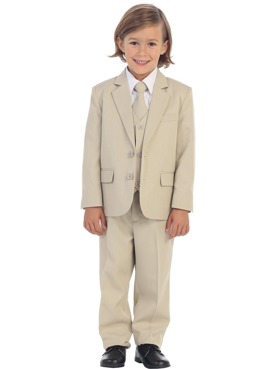 Avery Hill 5-Piece Boy's 2-Button Dress Suit Tuxedo - Khaki XL 24M