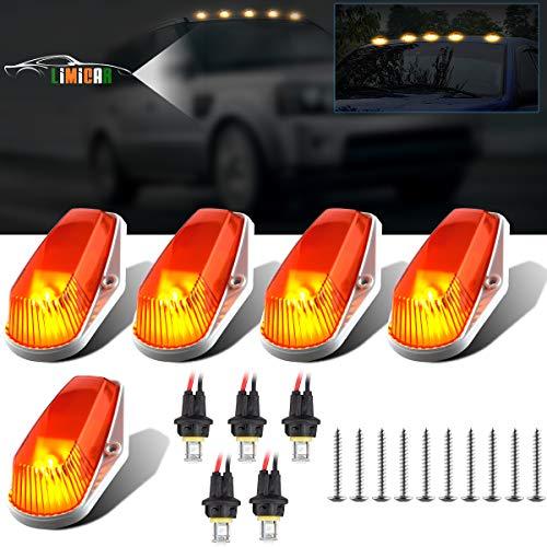 LIMICAR 5PCS Cab Marker Light Amber Top Roof Running Lamp Lens Cab Roof Light Covers 15442 + 5050 T10 194 LED Bulbs for 1999-2016 Ford F-250 F350 Super Duty Pickup Trucks (Pickup 1999 Ford F-250)