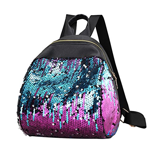 Hermora Fashion PU Leather Shiny Sequins Backpack Leisure Daypack Handbag Rucksack(Multicolored2)