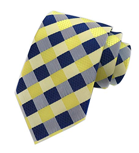 Mens Navy Blue Yellow Fashion Style Designer Inspired Tie Pretty Birthday Gifts ()