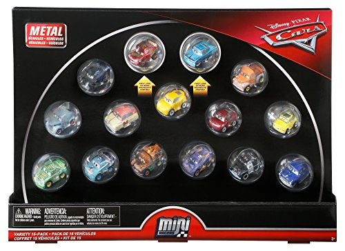 Disney Cars Diecast Mini Racers Variety 15-pack Including First-Look Metallic Rust-Eze Racing Center Lightning McQueen and Metallic Intro Ramone plus Jackson Storm, Cruz Ramirez, Mater, Smokey, 9 More from Cars