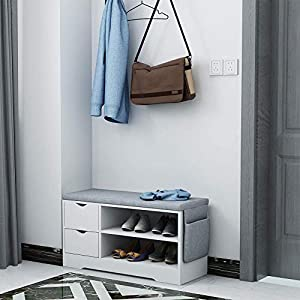Vanimeu White Shoe Bench Ottoman Storage Unit Hallway Bench Seat Furniture (2 Drawers Shoe Bench)