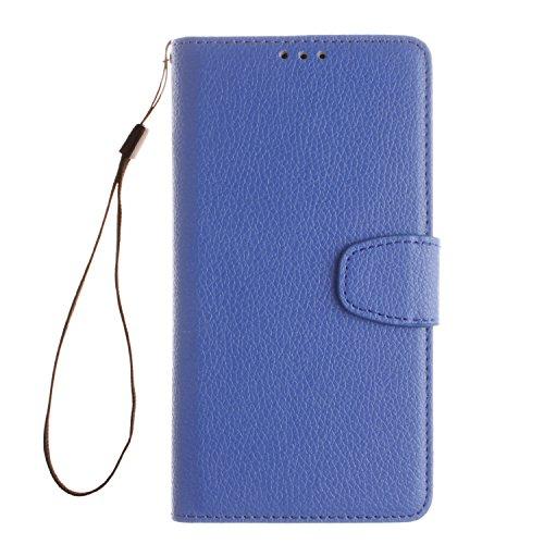 BONROY® PU Leder Blau Schutzhülle für Huawei Mate 7 case Wallet Schale Tasche Magnet Silikon Back Cover Etui Skin Shell Purse Handyhülle Standfunktion Kredit Kartenfächer Folio Bookstyle mit Weich TPU Innere