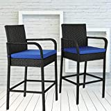 Leaptime Outdoor Rattan Chair Patio Rattan Bar Stool Set Garden Furniture Black Wicker Bar Chair with Royal Blue Cushions Set of 2