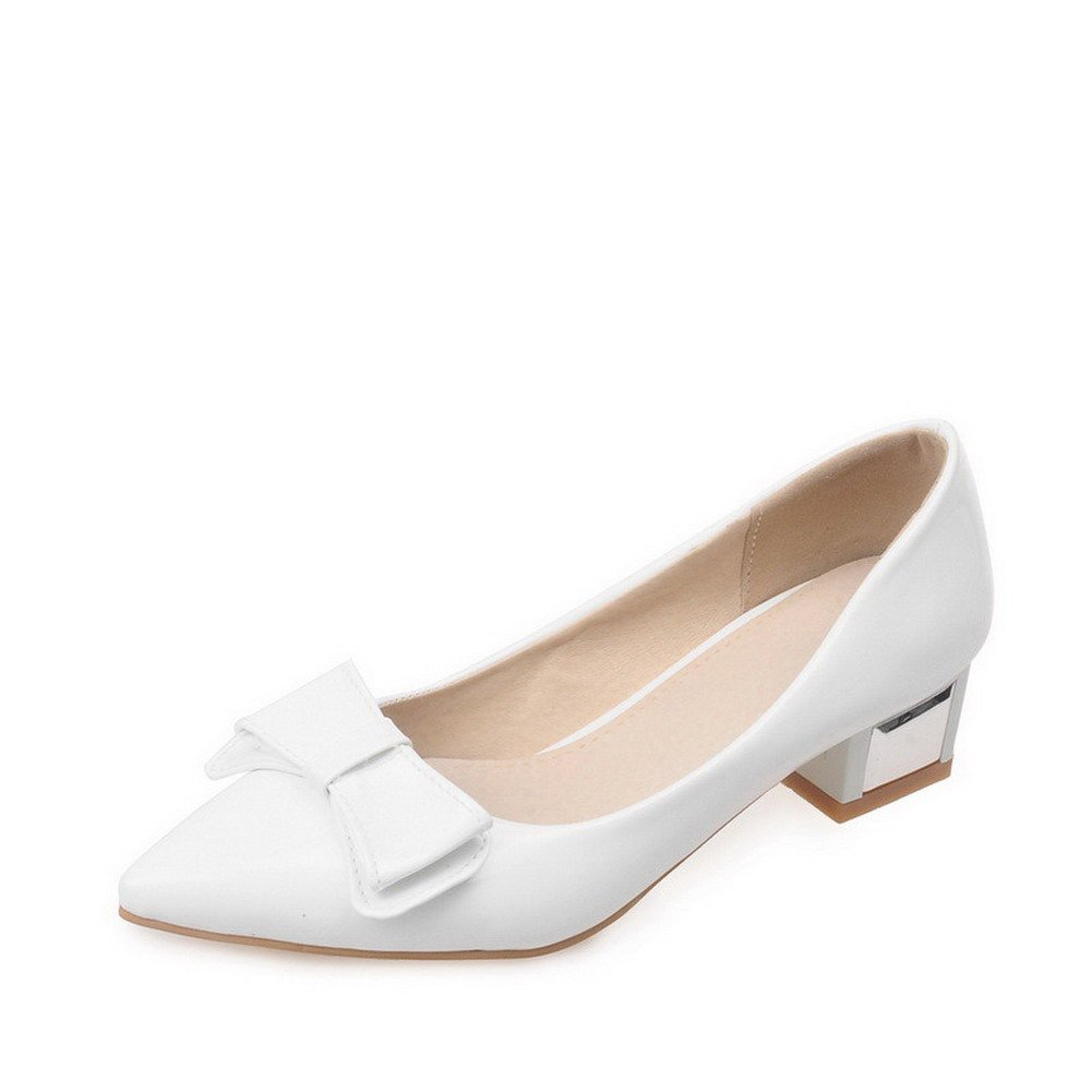 WeiPoot Women's Pull-on Low-Heels PU Solid Pointed Closed Toe Pumps-Shoes with Bows, White, 43 by WeiPoot