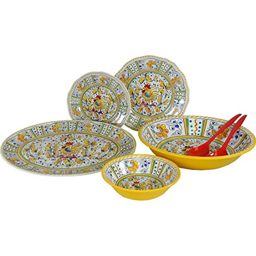 Yellow Rooster Le Cadeaux Melamine Dinnerware 16 PC Set  sc 1 st  Amazon.com : italian dinnerware set - Pezcame.Com