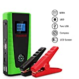 600A 12000mAh Portable Car Jump Starter Lithium Battery Jumper Pack for Auto Vehicle Up to 5.0L Gasoline Engine & 2.0L Diesel Engine with Compass & LCD Screen and Built-In Flashlight