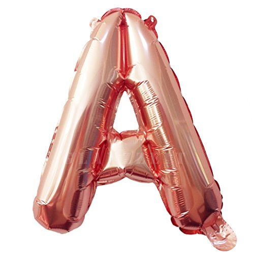 Glanzzeit® 16 inch Rose Gold Balloons Letter A to Z Number 0 to 9 Foil Balloons for Wedding Prom Birthday Party Baby Shower Christmas Decor (Letter A)