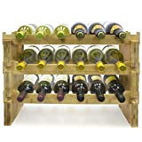Sorbus 3-Tier Stackable Bamboo Wine Rack— Classic Style Wine Racks for Bottles— Perfect for Bar, Wine Cellar, Basement, Cabinet, Pantry, etc.— Holds 18 Bottles (3-Tier, Natural)