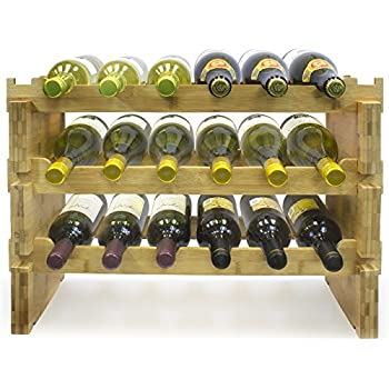 Sorbus 3 Tier Stackable Bamboo Wine Rack Classic Style Racks For Bottles Perfect Bar Cellar Bat Cabinet Pantry Etc