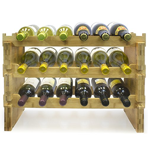 Tier Three Natural - Sorbus 3-Tier Stackable Bamboo Wine Rack- Classic Style Wine Racks for Bottles- Perfect for Bar, Wine Cellar, Basement, Cabinet, Pantry, etc.- Holds 18 Bottles (3-Tier, Natural)