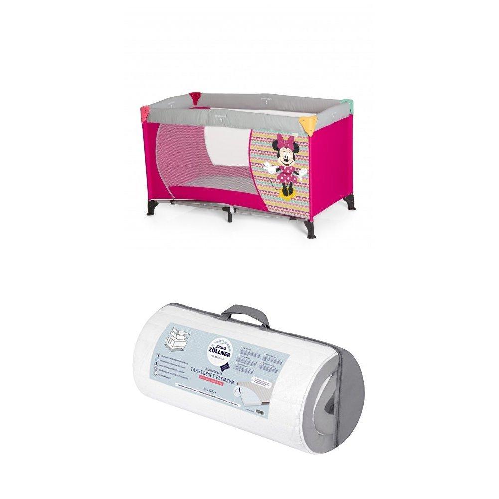 Hauck Kinderreisebett Dream N Play, inkl.  Julius Zöllner Premium Reisebettmatratze, tragbar und klappbar, 120 x 60 cm, rosa (Minnie Geo Pink)