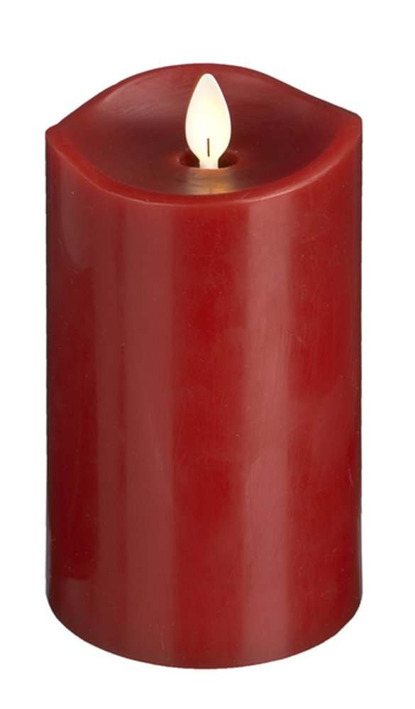 Ganz Luxury Lite Home Decor Flameless LED Wax Pillar Candle , Red