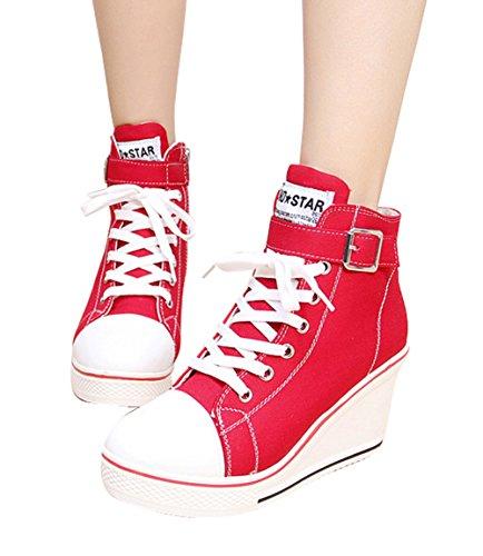 42 8 Eclair Baskets Rouge Compensées Tennis Grande Casuel 41 Lacet Mode 43 40 Montante Cm Sneakers Mauea Toile Chaussures Femme Fermeture Taille wHFBqF