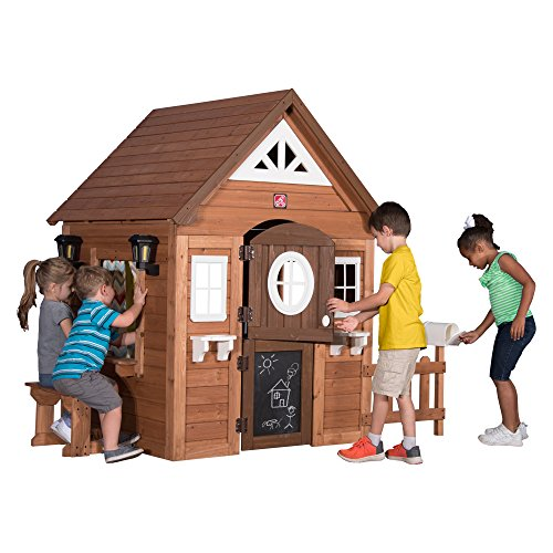 Step2/Backyard Discovery Sunny Ridge All Cedar Wooden Playhouse, Brown/Tan