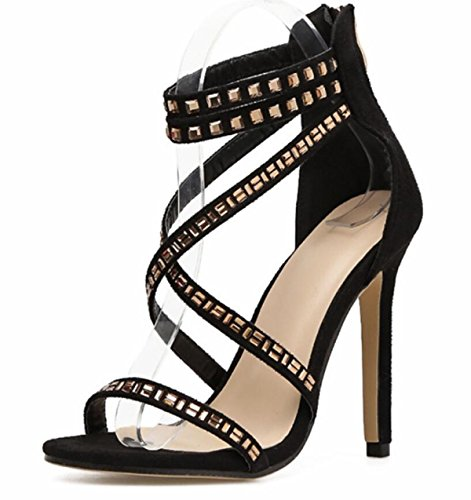 2018 A Donna Spillo Black Strass Toe Open Summer Tacco Scarpe Con Sandali Linyi New wAgvv
