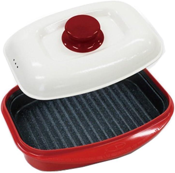 Rangemate Nonstick Microwave Grill Ceramic Coating Pan (Red)