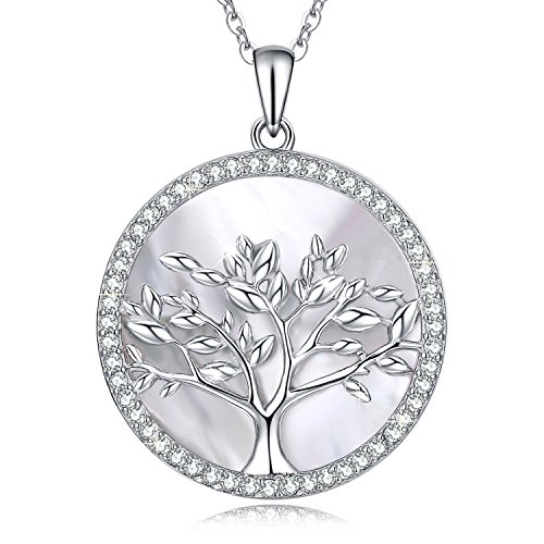 MEGACHIC Tree of Life Women's Sterling Silver Mother of Pearl Pendant Necklace Crystals from Swarovski