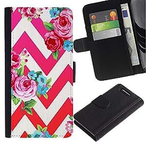 KingStore / Leather Etui en cuir / Sony Xperia Z1 Compact D5503 / Rouge Rose Motif floral Chevron