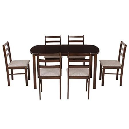 Woodness Peony Six Seater Dining Table Set (Matte Finish, Wenge) - Oval