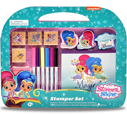 Shimmer and Shine Coloring Stamper and Activity Set, Mess Free Craft Kit for Toddlers and Kids, Drawing Art Supplies Included Sketch Book, 6 Color Markers, 3 Foam and 4 Wooden Stampers and 1 Ink Pad
