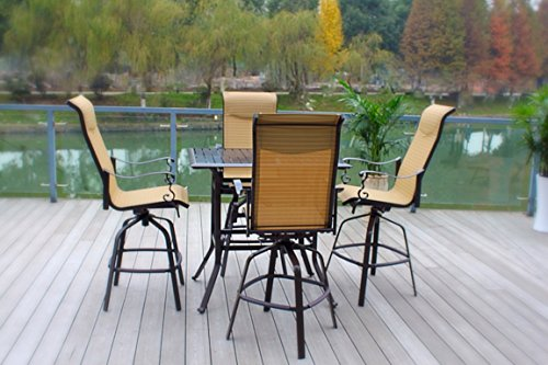 Pebble Lane Living 5pc Cast Aluminum Swivel Patio Bar Dining Furniture Set - Bronze