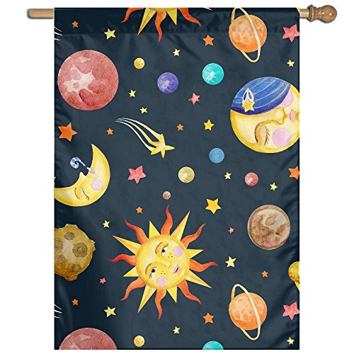 oon Sun Double Sided Decorative Flags For Outdoors Best For Party Yard And Home Outdoor Decor (Cosmic Garden)