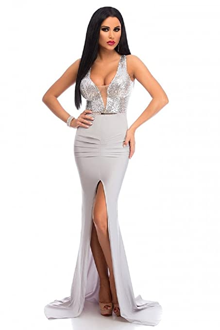 New Ladies Silver Sequin Open Back Long Prom Evening Dress Long Dress Size M UK 10