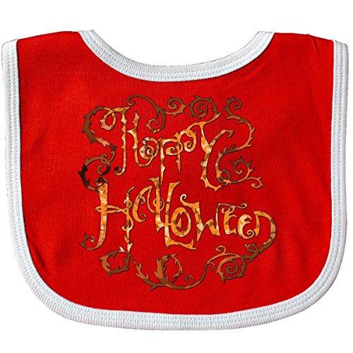 Inktastic - Happy Halloween- hand lettering with thorny vines Baby Bib (Red Vines Halloween)