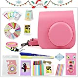 Gvirtue 20 in 1 Accessories Bundles for Fujifilm Instax Mini 8 8+ 9 Instant Camera (Flamingo Pink Mini 8/8+/9 Case, Selfie Lens, Mini Albums, Stand Albums, Film Frame, Film Stickers + More)