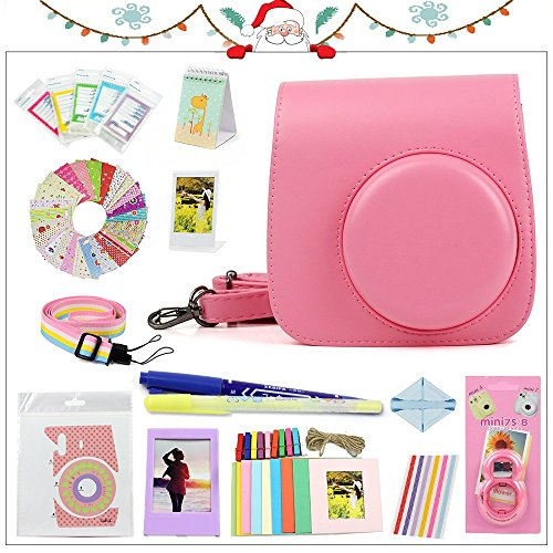 Gvirtue Thanks Giving Gift 20 in 1 Accessories Bundles for Fujifilm Instax Mini 8 8+ 9 Instant Camera (Flamingo Pink Mini 8/8+/9 Case, Selfie Lens, Stand Albums, Film Frame, Film Stickers + More)