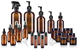 24 Piece Amber Glass Ultimate Aromatherapy Starter Set Kit - Includes a Variety of Large, Medium, and Small Glass Bottles, Jars and Roll Ons
