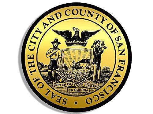 American Vinyl Round Gold Look City of San Francisco California Seal Sticker (NOT Reflective Logo ca Bay ()