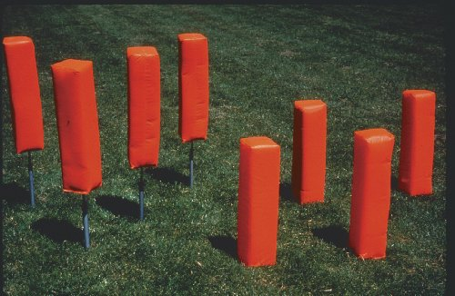 Weighted Football Corner Pylons. Self Standing. No Ground Sleeves Needed. Quality Backed 5 Year Warranty.