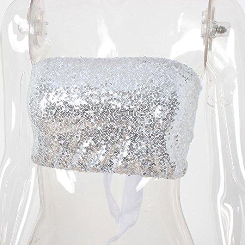 Longra ☀2017 populares bikini de lentejuelas de división, del bikini de las mujeres Plata