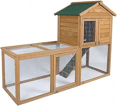Eugad 0038ht Clapier Lapin Cage Pour Petit Animal En Bois Massif 2 Etages Avec Escalier Amazon Fr Animalerie