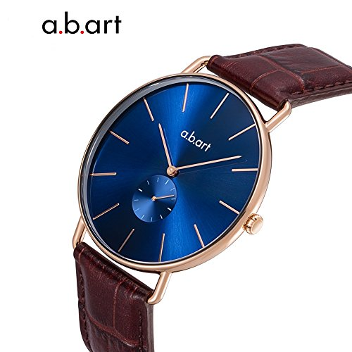 a.b .art FR36-013-4L Women Crack Oily Calf Leather Strap Blue Dial Gold Watch Wrist Watches by a.b.art (Image #4)