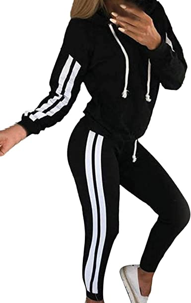 Tuta Donna Sportiva Abbigliamento Felpa Jogging Fitness Manica Lunga Pullover Tuta Ginnastica Autunno Donne Casual A Righe Tuta Felpa con Cappuccio Maniche Lunghe Felpa Sport Tops Set Pantaloni