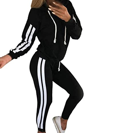 2c2e06916af5e Women Tracksuit Sets 2 Pieces Outfits Stripe Hooded Long Sleeve Zipper T-Shirt  Tops and Long Pants Set Sweatshirt (Black