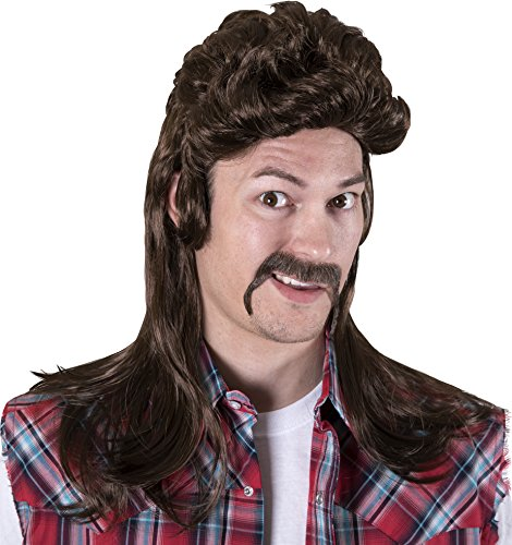 Mullet Wig Costume (Kangaroo's Halloween Accessories - Redneck Wig, Brown)