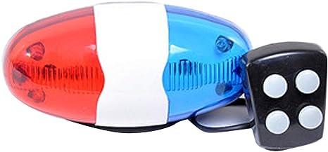 CDKJ Muy Ruidoso Coche de policía de la Bicicleta 6 LED de 4 Sonidos tuberías de Ciclo de Bell del Cuerno de Sirena 1Pc: Amazon.es: Deportes y aire libre