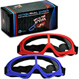 kids safety goggles - Rival Mask - Eye Safety Glasses for Kids - Perfect for Nerf Rival Games - 2-Pack Red/Blue Foam Gun and Blaster Safety Goggles with Anti Fog Protection - Have Fun, Play Hard, Be Safe