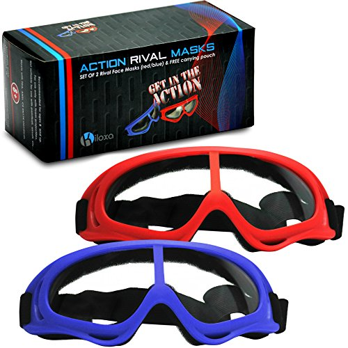 Rival Mask - Eye Safety Glasses for Kids - Perfect for Nerf Rival Games - 2-Pack Red/Blue Foam Gun and Blaster Safety Goggles with Anti Fog Protection - Have Fun, Play Hard, Be Safe (Screen Free Cell)