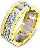 Designer 18 Karat Two-Tone Gold Unique 66 Diamond Wedding Band Ring