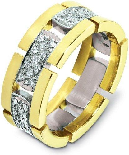 (Designer 14 Karat Two-Tone Gold Unique 66 Diamond Wedding Band Ring - 12.5)