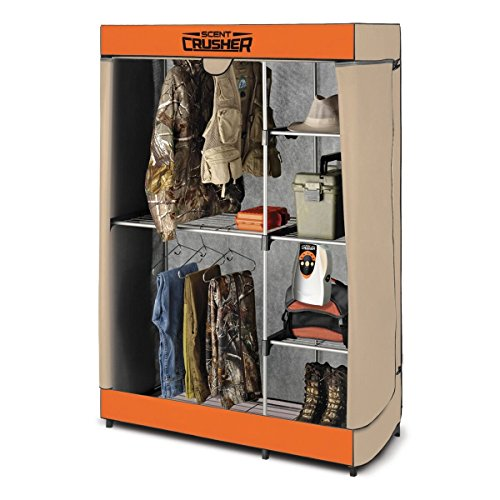 Scent Free Hunting Clothes - Scent Crusher Flexible Hunter Closet with Ozone Generator, Destroys Odors within 30 mins., Great for Storage in Basements, Garages & Hunting Camps