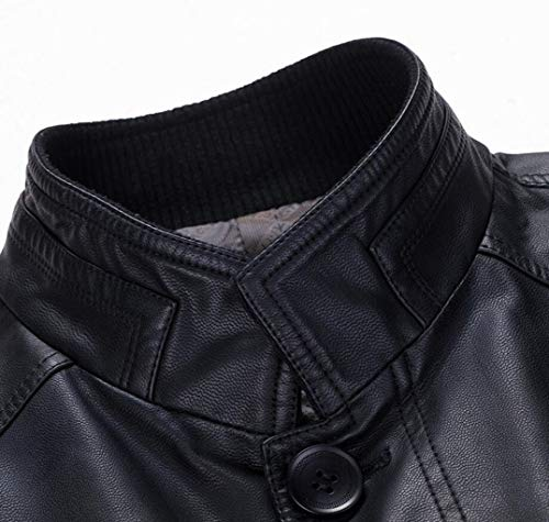 Coat Cosy Coat Trench Leather Autumn Men's And And Fashion Winter PU Jacket Business Leather Warm Long Section Leather Black gOgpSfTwq